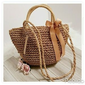 Straw Ribbon Tote in Khaki, Red, or Yellow